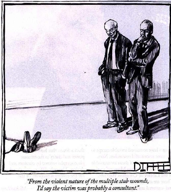 Cartoon of dead consultant